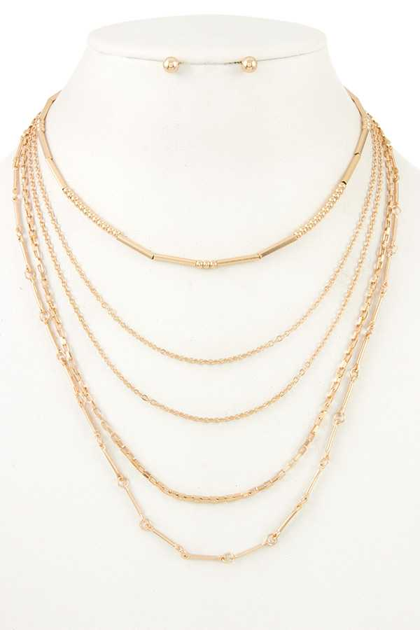 MULTI LAYERED MIX CHAIN NECKLACE SET