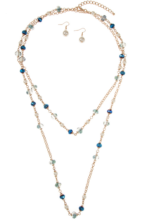 Elongated Double Layered Glass Beaded Accent Necklace Set