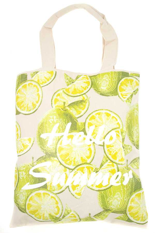 HELLO SUMMER LIME TOTE BAG