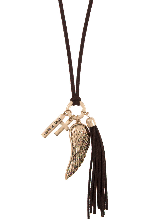 ELONGATED GUARDIAN ANGEL WING PENDANT NECKLACE SET
