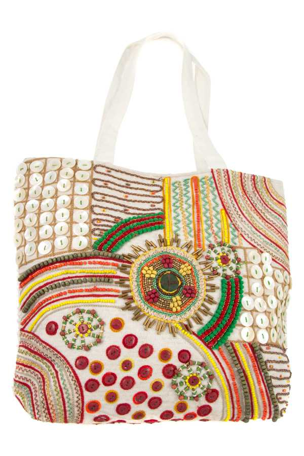 MIX BEAD PATTERN TOTE BAG