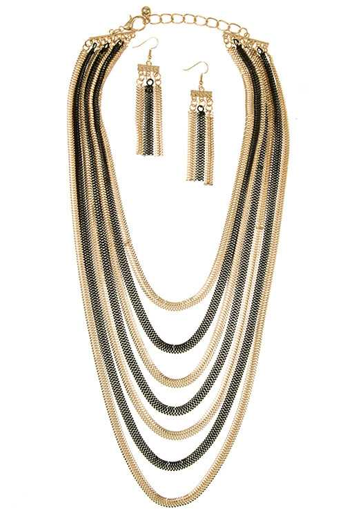 Layered Flat Herringbone Pattern Chain Necklace Set