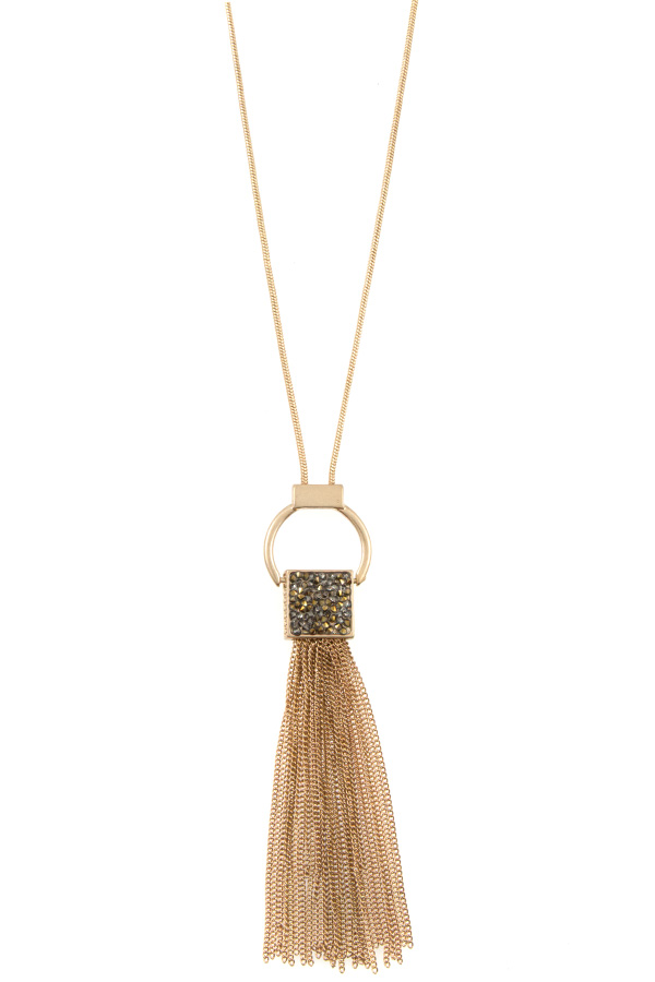 SQUARE GEM PAVE PENDANT CHAIN TASSEL LONG NECKLACE SET