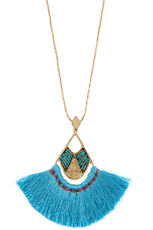 TASSEL FAN OUT PENDANT LONG NECKLACE