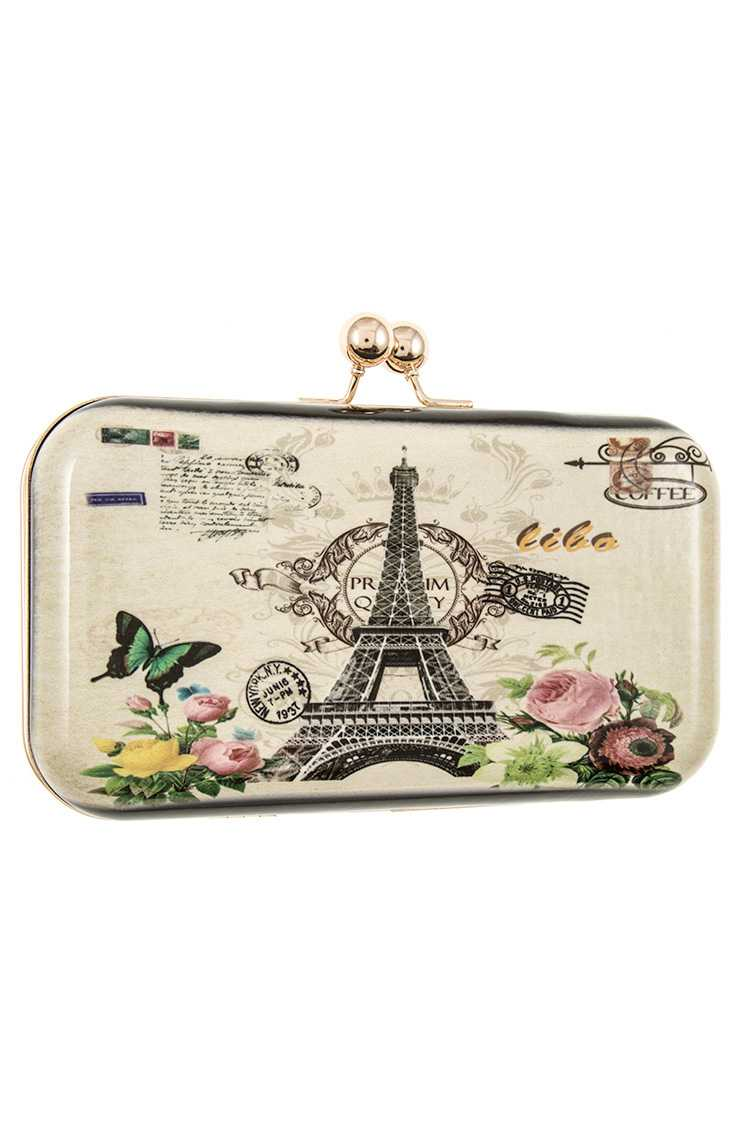 Eiffel Tower Postal Print Hard Cover Clutch Bag