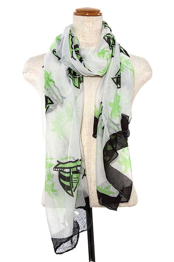 BOAT PRINT OBLONG SCARF