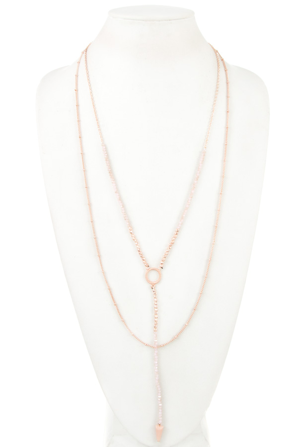MIX BEAD CONE PENDANT CHAIN LAYERED NECKLACE
