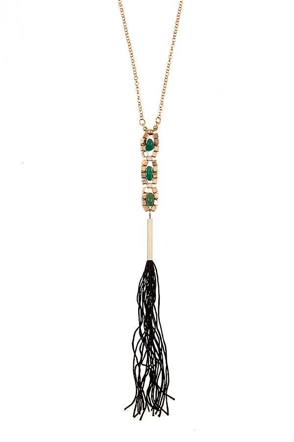 TRIPLE LINK BEAD TASSEL LONG NECKLACE SET
