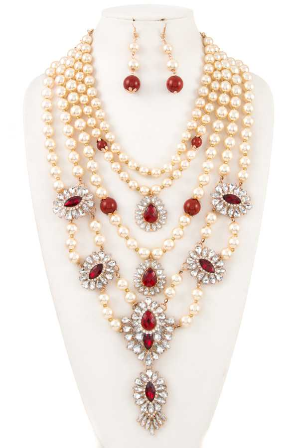 FRAMED GEM MULTI ROW PEARL STATEMENT NECKLACE SET