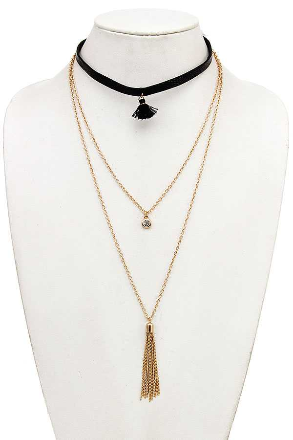 MULTI CHAIN TASSEL PENDANT NECKLACE