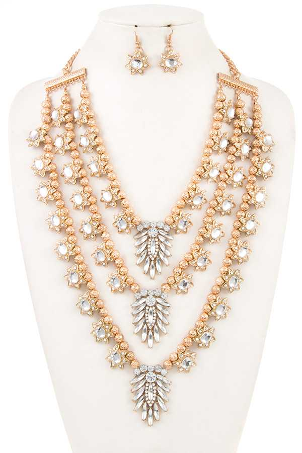 MULTI ROW CHUNKY FLOWER DANGLE NECKLACE SET