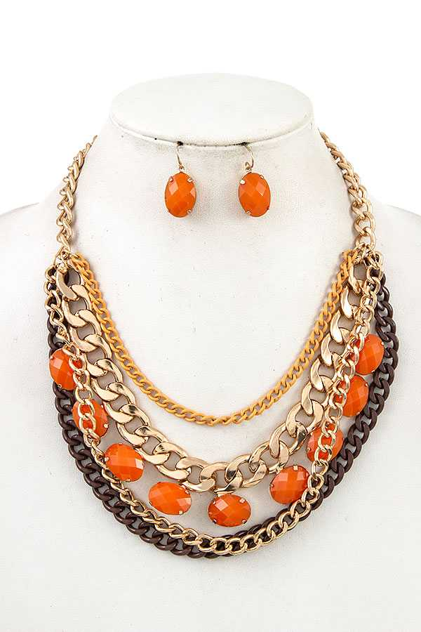 MULTI CHAIN BEAED BIB NECKLACE SET