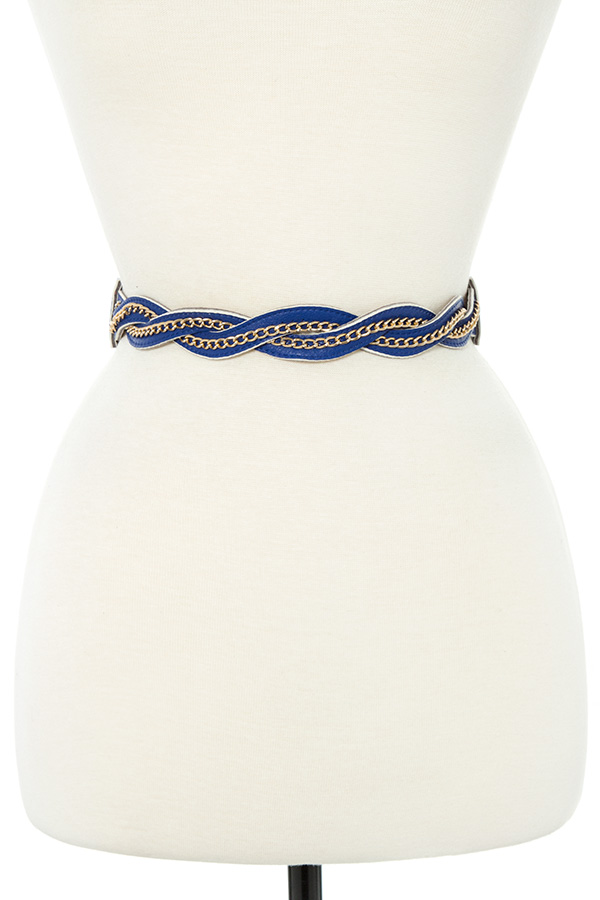 CHAIN TWIST FAUX LEATHER STRETCH BELT