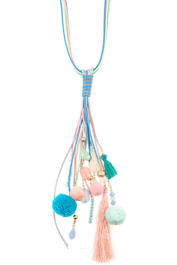 Elongated Multi Pom Pom and Tassel Rope Necklace Set