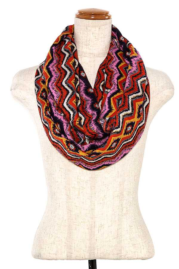 ZIGZAG MULTI COLOR PATTERN INFINITY SCARF