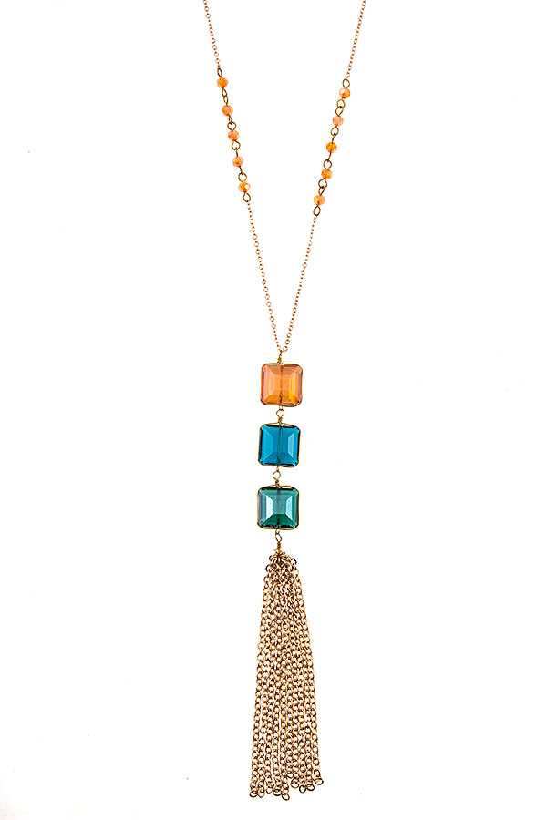 TRIPLE STONE CHAIN TASSEL PENDANT NECKLACE