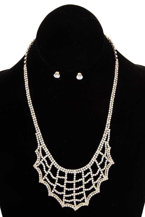 RHINESTONE NET BIB NECKLACE SET