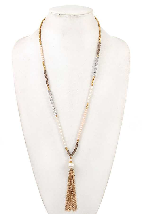 MIX BEAD CHAIN TASSEL LONG NECKLACE