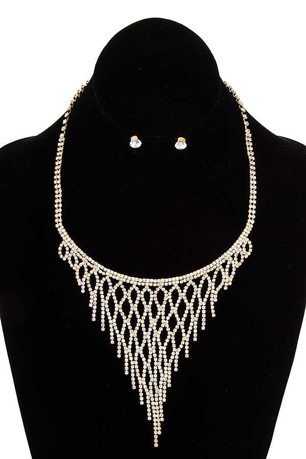 FRINGE RHINESTONE NECKLACE SET