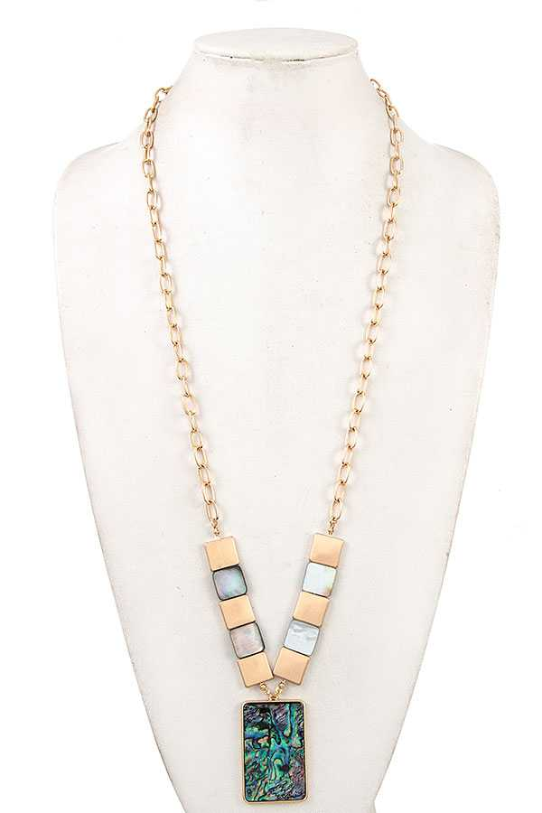 SHELL STONE PENDANT LONG NECKLACE