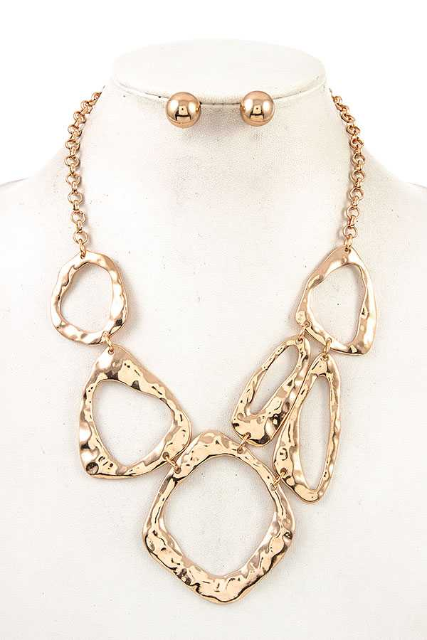 HAMMERED CUT OUT LINK NECKLACE SET