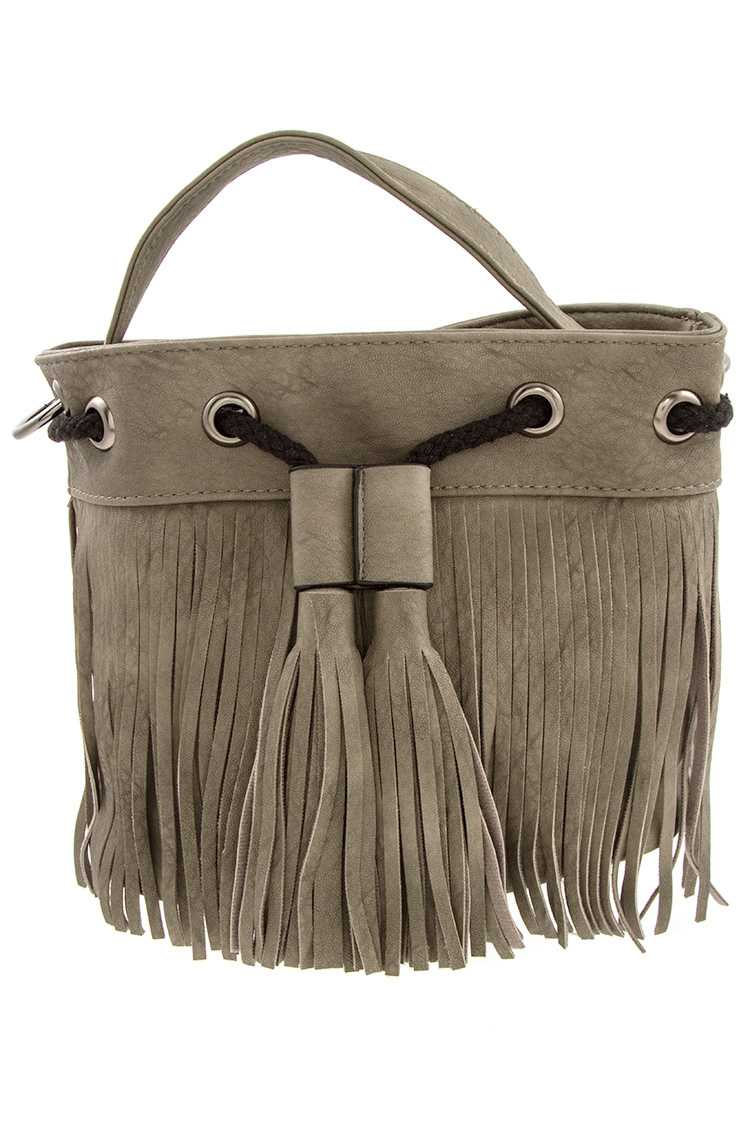 Faux Leather Fringe Tassel Drawstring Bucket Bag