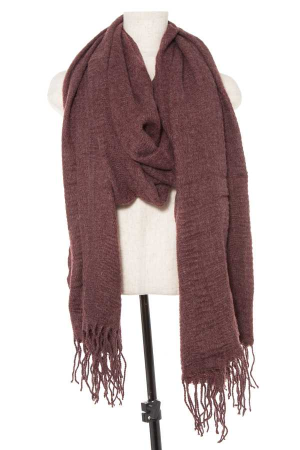 OBLONG TASSEL END RUFFLED DETAIL SCARF