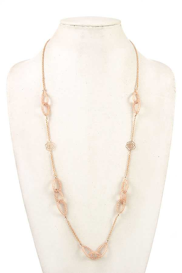 MESH CZ STONE LINK LONG NECKLACE SET