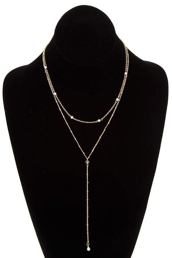 PEARL ANAD BEAD LAYERED NECKLACE