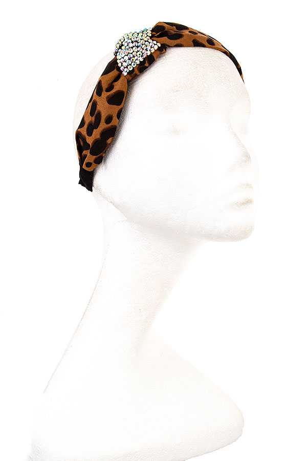 GEM ACCENT ANIMAL PRINT HEADBAND