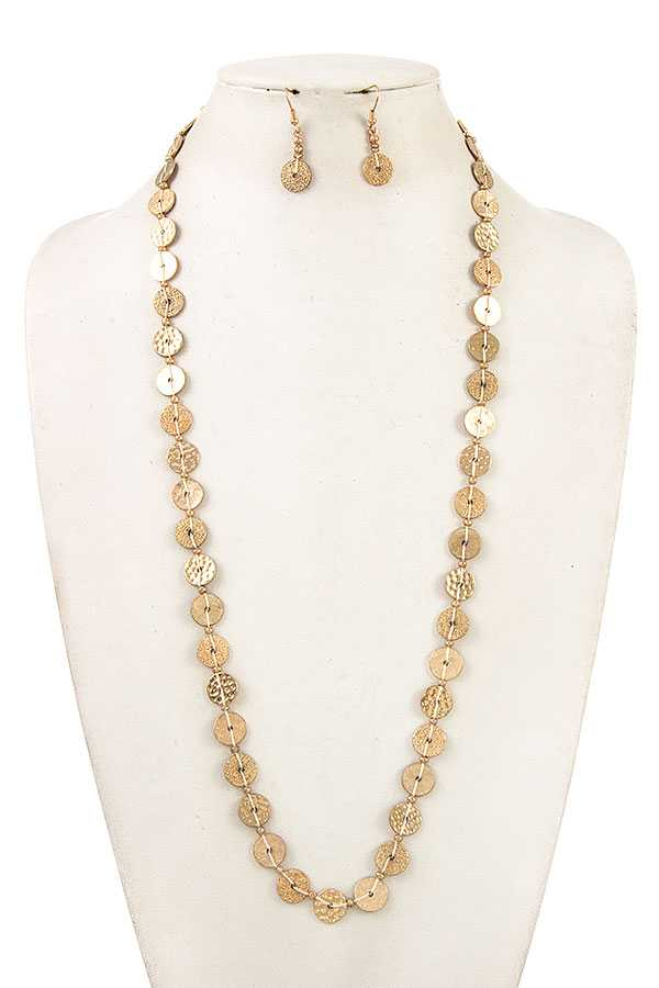 HAMMERED DISK CORD BEADED LINK LONG NECKLACE SET