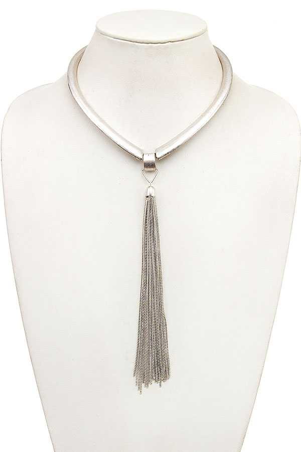 BRUSHED METAL LINK CHAIN TASSEL NECKLACE