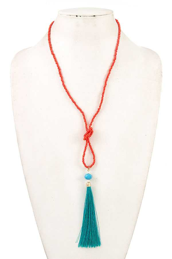 Beaded Accented Knot Tassel Necklace