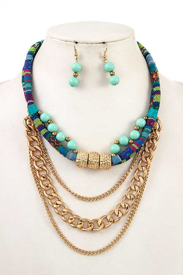 CHAIN DRAPED BEADED ROPE NECKLACE SET