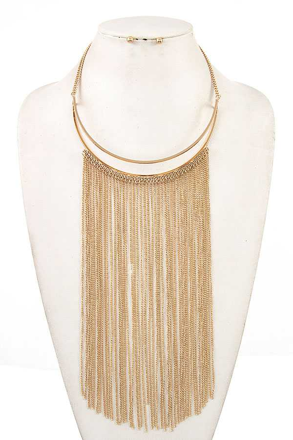 OBLONG CHAIN TASSEL BIB NECKLACE SET