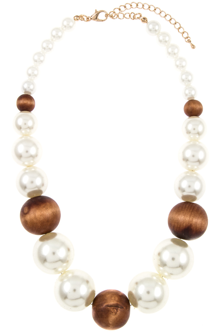 Faux Pearl and Wood Orb Necklace