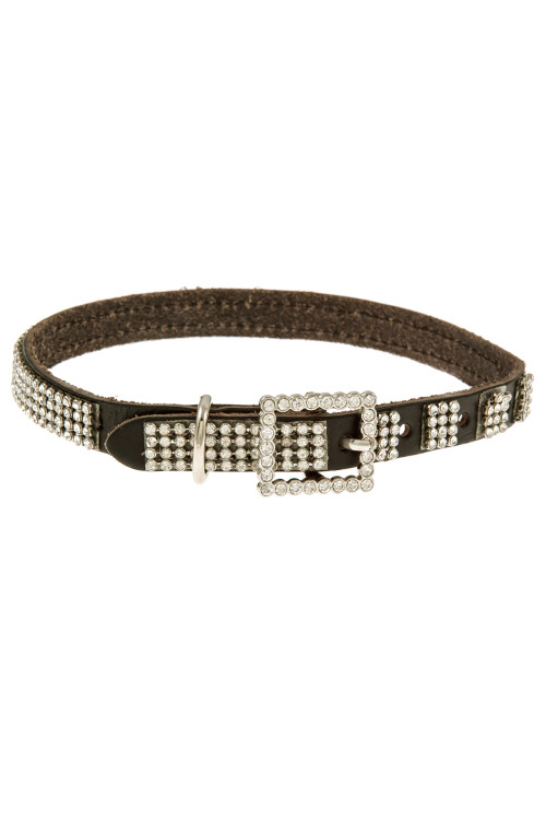 Rhinestone Accent Faux Leather Doggy Collar