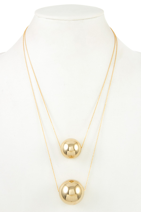 DOUBLE ORB PENDANT LAYERED NECKLACE