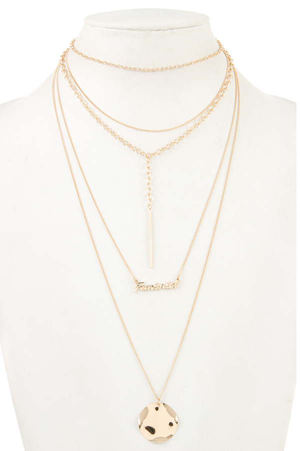 FEMINIST LAYERED DISK CHAIN NECKLACE
