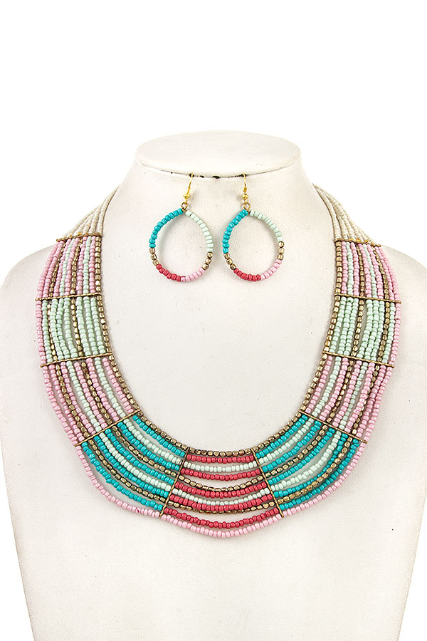 Multi Row Beaded Bib Statement Necklace Set