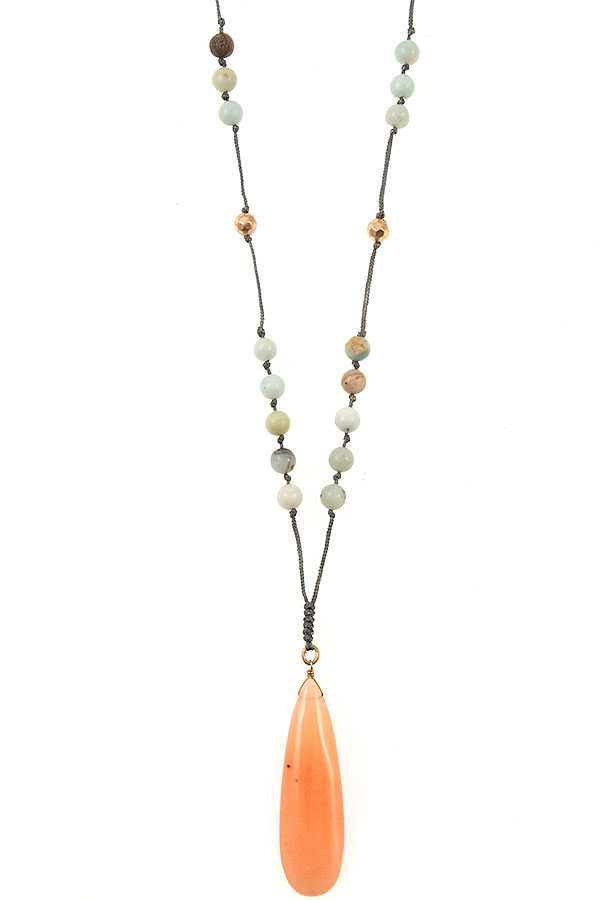 GEMSTONE BEAD TEARDROP PENDANT NECKLACE