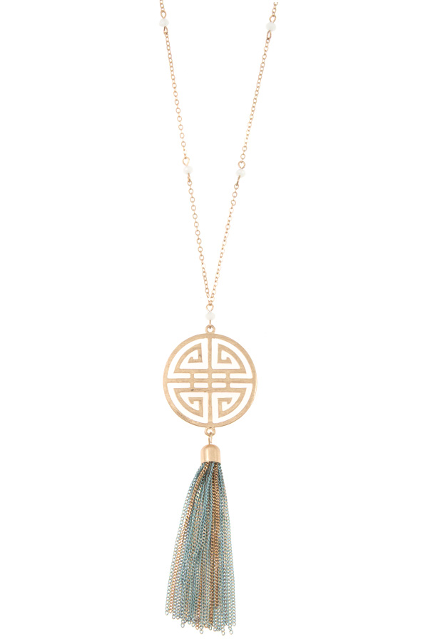 CHINESE DESIGN CHAIN TASSEL PENDANT NECKLACE
