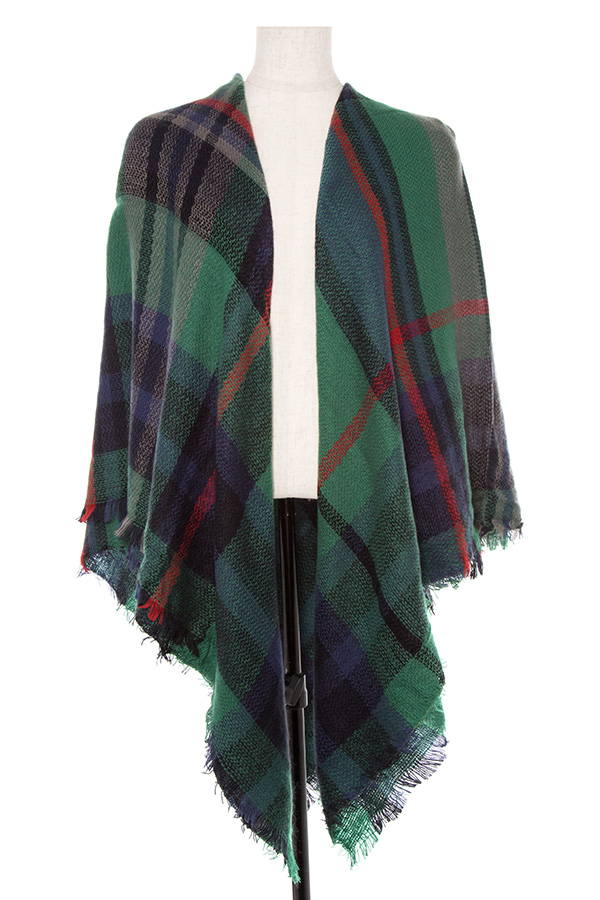 Plaid Pattern Square Scarf/Shawl with Fringe