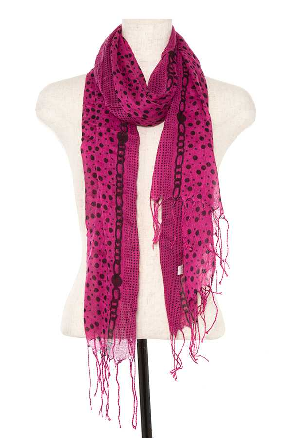 Dotted Fringe Pattern Scarf