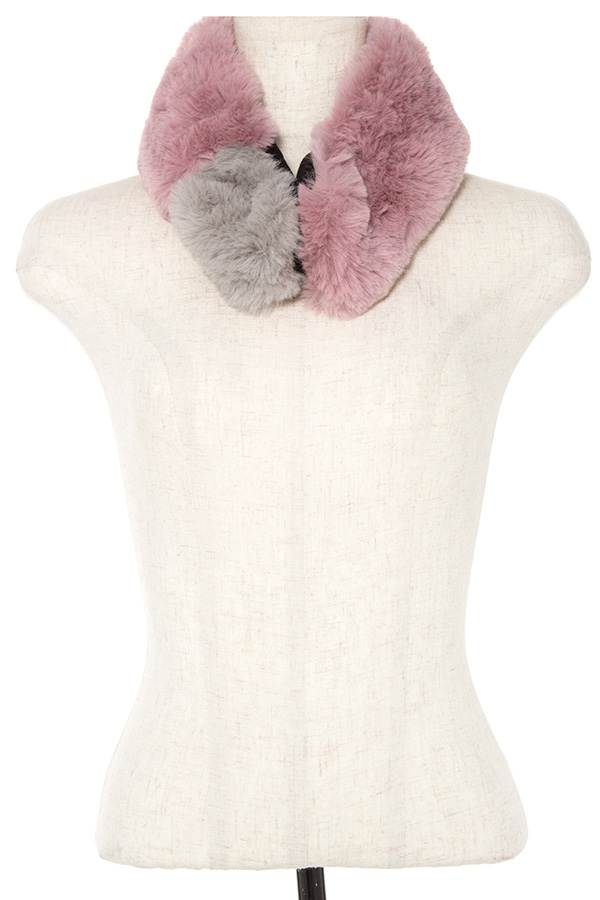 TWO TONE FAUX FUR NECK WARMER