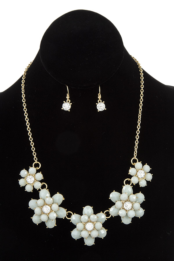 Faceted Acrylic Floral Link Accent Necklace Set