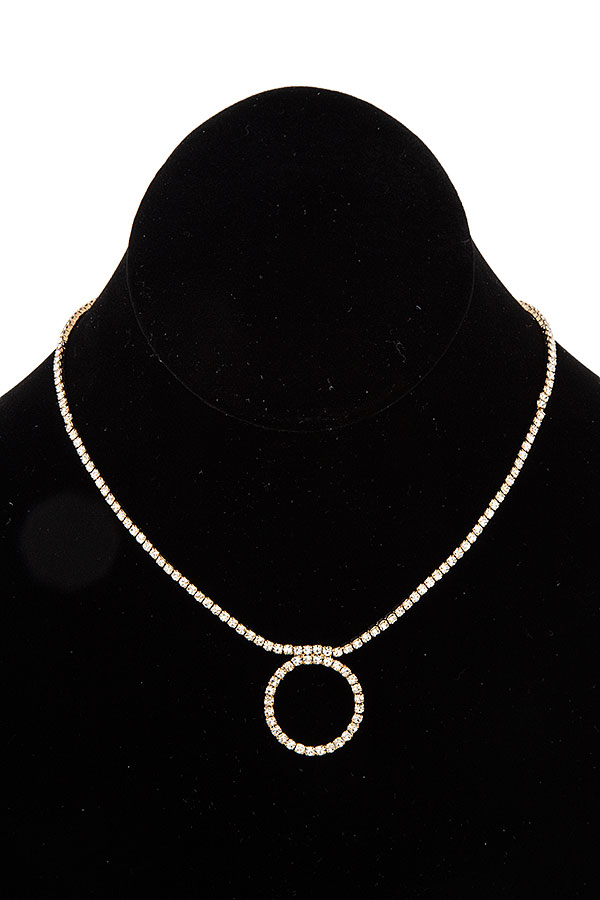 RING RHINESTONE PAVE SLIDER NECKLACE
