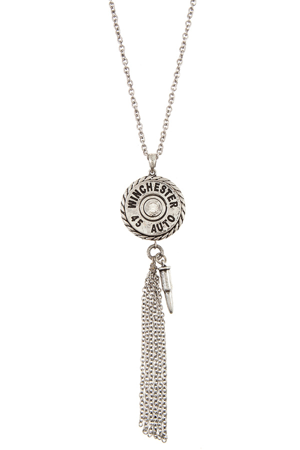 WINCHESTER FRMAED CHAIN TASSEL PENDANT LONG NECKLACE SET