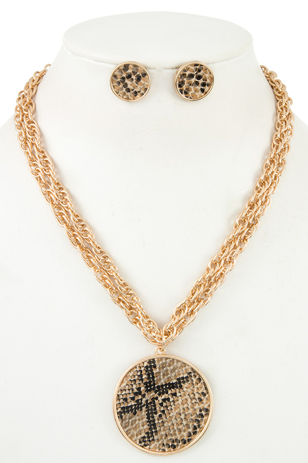 ANIMAL PATTERN ROUND PENDANT NECKLACE SET