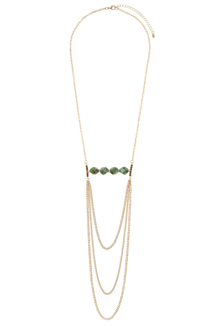 Gem Stone Accent Draped Chain Necklace